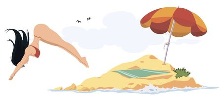 Vector. Stock illustration. Funny people. Girl dives into water. Ilustração