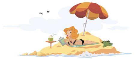 Vector. Stock illustration. Funny people. Woman on beach reading book. Foto de archivo - 134931334