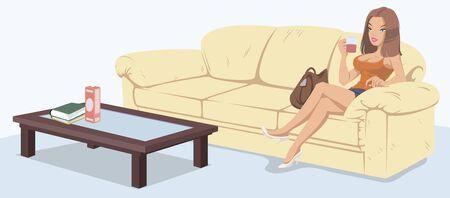 Wektor. Ilustracji. Dziewczyna na kanapie pije herbatę. Ilustracje wektorowe
