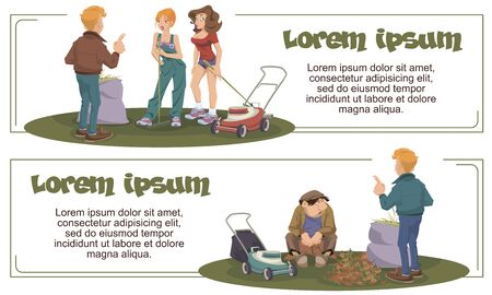 Vector. Stock illustration. Funny people cleaning in park.