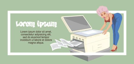 Vector. Stock illustration. Workplace scene. People in office. Girl is near printer.