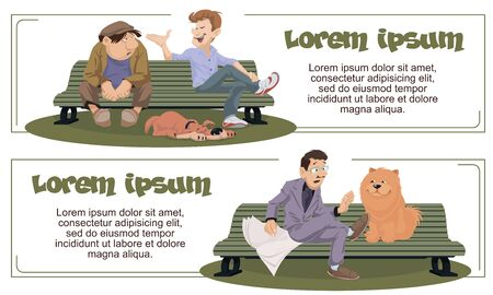 Vector. Stock illustration. Funny people. Man with dog.