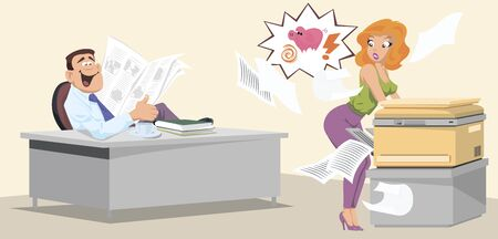 Vector. Stock illustration. Workplace scene. Man in office is watching a girl.