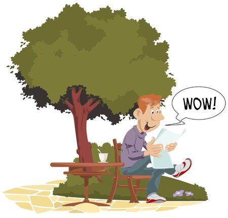 Vector. Stock illustration. Funny Man reading at table in park.