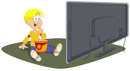 Vector. Stock illustration. Child watches TV and eats chips.