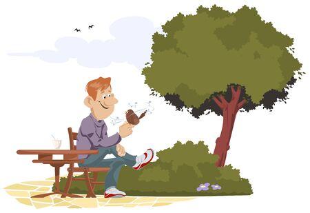 Vector. Stock illustration. Man listens to birdsong in park.