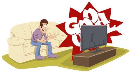 Vector. Stock illustration. Man watches TV.