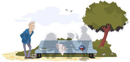 Vector. Stock illustration. Lonely elderly man in park.