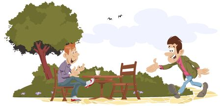 Vector. Stock illustration. Two friends meeting in park.