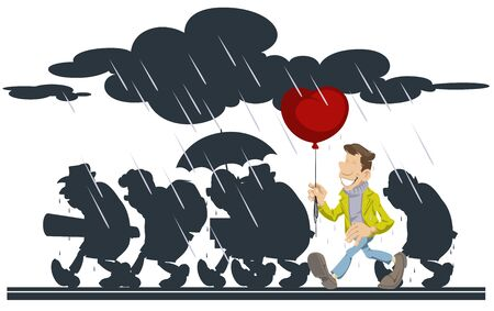Vector. Stock illustration. People going in rain. Happy man with a balloon. Foto de archivo - 137551514