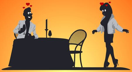 Funny people in restaurant. Loving couple in cafe. Vector. Stock illustration. Foto de archivo - 137550824
