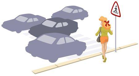 Vector. Stock illustration. Girl at pedestrian crossing.