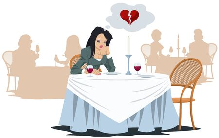 Funny people in restaurant. Lonely unhappy girl in cafe. Vector. Stock illustration. Foto de archivo - 137550676