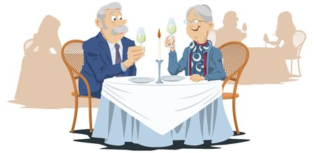 Funny people in restaurant. Elderly man and woman in cafe. Vector. Stock illustration. Foto de archivo - 137548901