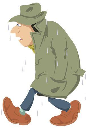 Vector. Stock illustration. People going in rain. Wet man. Ilustração