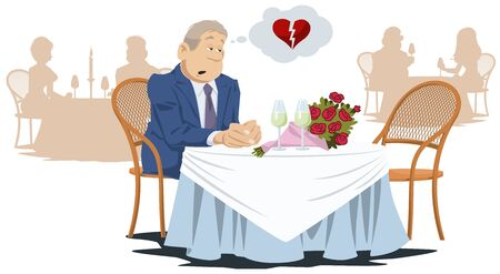 Funny people in restaurant. Lonely unhappy man in cafe. Vector. Stock illustration. Foto de archivo - 137548912