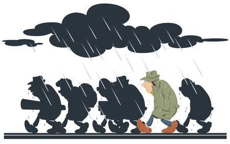 Vector. Stock illustration. People going in rain. Foto de archivo - 137550594