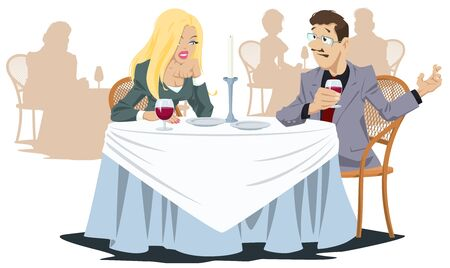 Funny people in restaurant. Man and girl in cafe. Vector. Stock illustration. Foto de archivo - 137550575