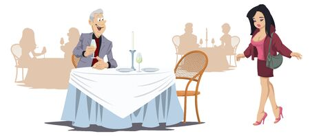 Funny people in restaurant. Man and girl in cafe. Vector. Stock illustration. Archivio Fotografico - 138296662