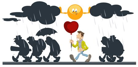Vector. Stock illustration. People going in rain. Cartoon sun helping happy man with balloon. Foto de archivo - 137550796