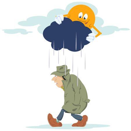Vector. Stock illustration. Man going in rain.
