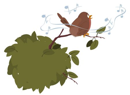 Vector. Stock illustration. Singing bird. 向量圖像