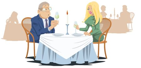 Funny people in restaurant. Man and girl in cafe. Vector. Stock illustration. Foto de archivo - 137550775