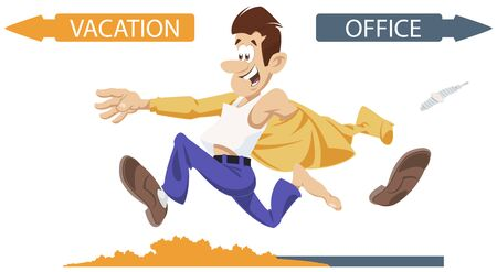 Vector. Stock illustration. Cartoon cheerful businessman runs from office.