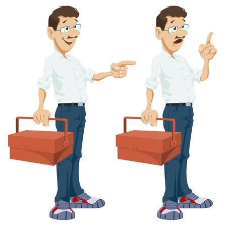 Vector. Stock illustration. Home master with toolbox. Cartoon repairman.