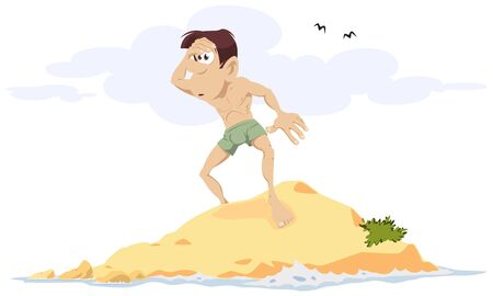 Vector. Stock illustration. Man on desert island.