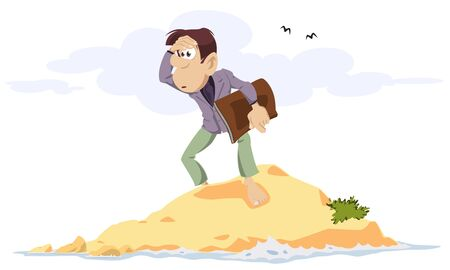 Vector. Stock illustration. Businessman on desert island.