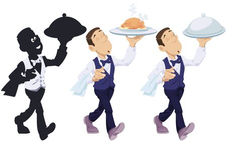 Funny people in restaurant. Waiter with an order. Vector. Stock illustration.  Illustration