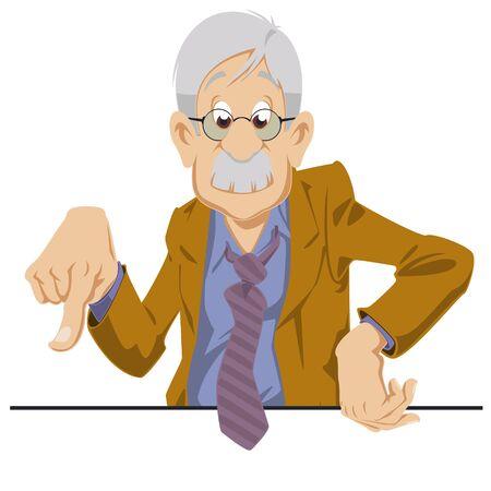Funny people. Cartoon Elderly businessman points finger.