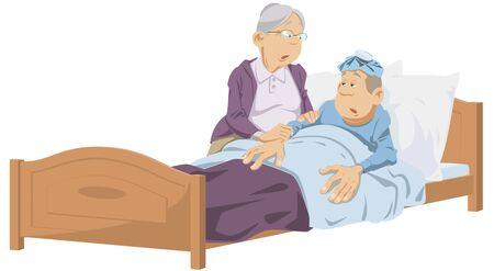 Funny people. Elderly woman near sick man.