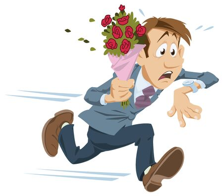 Vector. Stock illustration. Man running with bouquet of flowers.