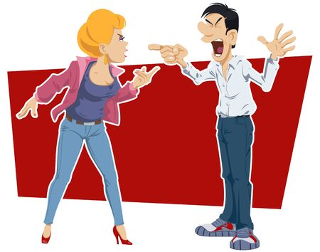 Funny people. Angry Couple Arguing.