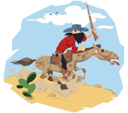 Funny people. Wild west world. Cowboy on horse. Çizim