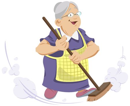 Funny people. Elderly Woman with broom.
