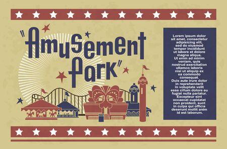 Stock Illustration. Amusement park concept design card.