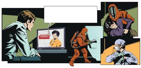 Stock illustration. Young man watching news on tv. Coronavirus. Pandemic.