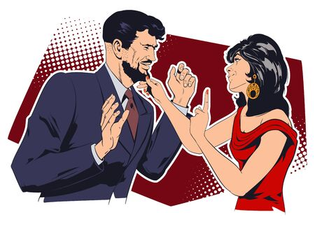 Vector. Stock illustration. Girl flirts with man. Banque d'images - 143227307