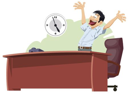 Stock illustration. Successful Happy guy. End working day.