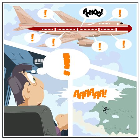 Stock illustration. Panic on plane. Sick passenger. Pandemic.