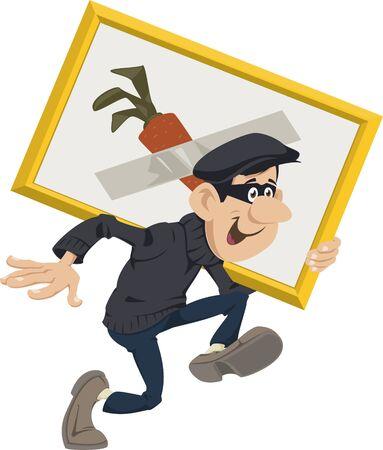 Funny people. Cartoon Robber stealing artworks.