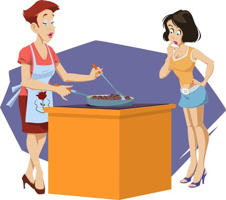 Funny people. Woman teaches girl to cook. Vettoriali