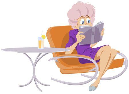 Funny people. Girl reading a book. Ilustración de vector