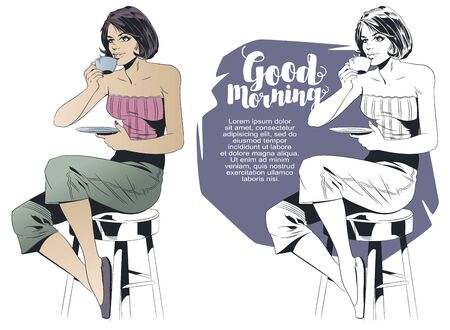 Vector. Stock illustration. Morning coffee. Girl sits on high stool and drinks tea.