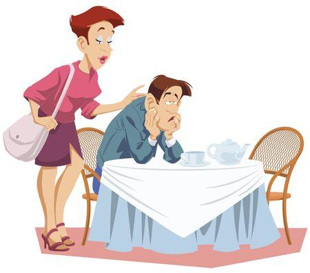 Funny people. Girl consoles sad man. 向量圖像