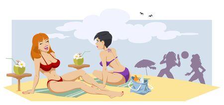 Beautiful girls on beach. Funny people. Stock illustration.  向量圖像