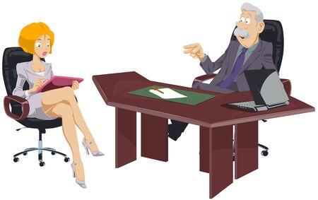 Funny people. Boss with secretary. 向量圖像